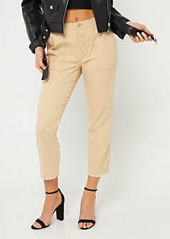 Brown High Waisted Utility Canvas Pants