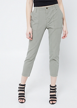 Olive High Rise Utility Canvas Pants