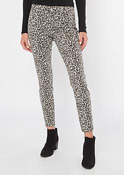 Leopard Print Mid Rise Skinny Pants