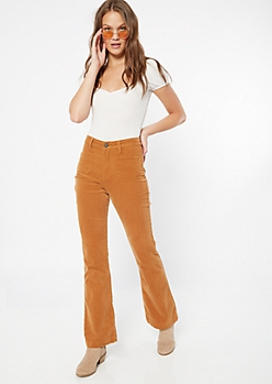 YMI Burnt Orange Corduroy Flare Pants