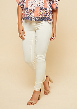 YMI Cream High Waisted Slimming Skinny Jeans