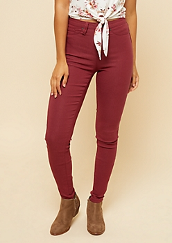 YMI Burgundy High Waisted Slimming Skinny Jeans