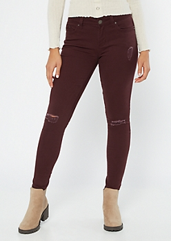 YMI Wanna Betta Butt Purple Mid Rise Jeggings