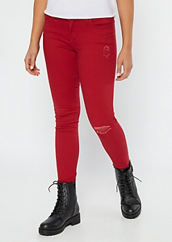 YMI Wanna Betta Butt Red Mid Rise Jeggings