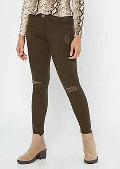 YMI Wanna Betta Butt Olive Mid Rise Jeggings