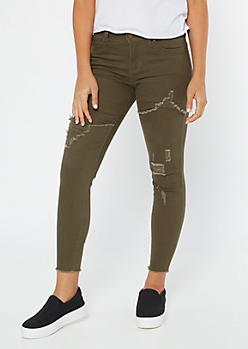 YMI Wanna Betta Butt Olive Distressed Jeggings