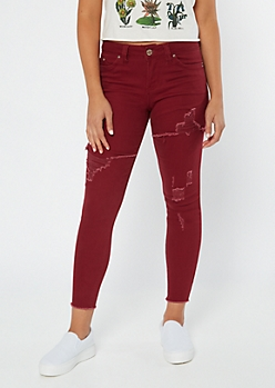YMI Wanna Betta Butt Burgundy Distressed Jeggings