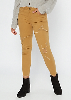 YMI Wanna Betta Butt Camel Distressed Jeggings