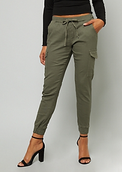 Olive Mid Rise Cargo Joggers