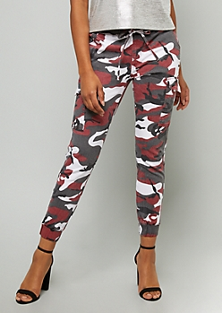 Burgundy Camo Print Mid Rise Cargo Joggers