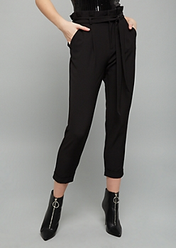 Black Extra High Waisted Paperbag Waist Cropped Pants