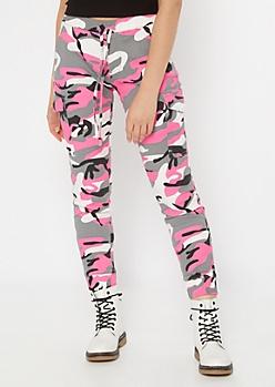 Hot Pink Camo Print Cargo Joggers