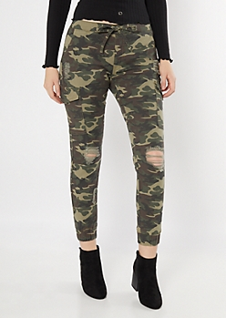 Camo Print Distressed Cargo Twill Joggers