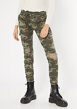 Camo Print Ripped Cargo Utility Joggers