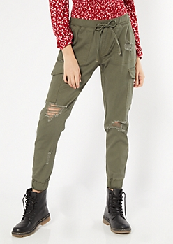 Olive Ripped Cargo Utility Joggers