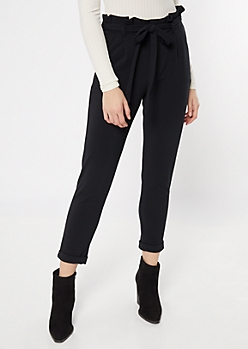 Black Crepe Paperbag Waist Rolled Pants