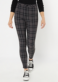 Black Plaid Skinny Stretch Pants