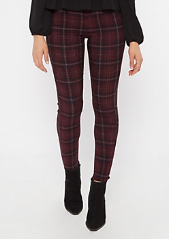 Burgundy Plaid Skinny Stretch Pants