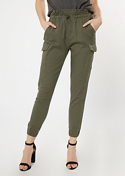 Olive Green Paperbag Waist Cargo Joggers