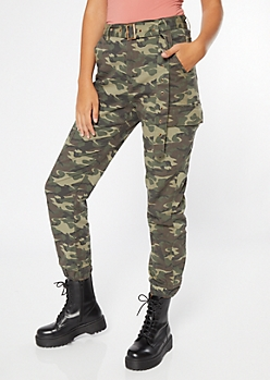 Camo Print Belted Cargo Joggers