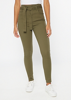 Olive Extra High Waisted Paperbag Waist Skinny Pants