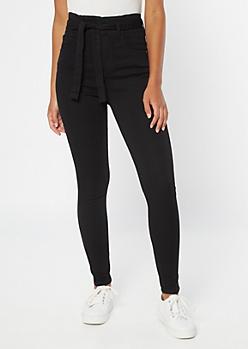 Black Extra High Waisted Paperbag Waist Skinny Pants