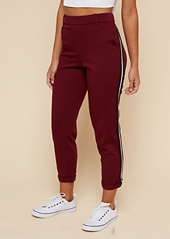 Burgundy Side Striped Knit Copped Pants