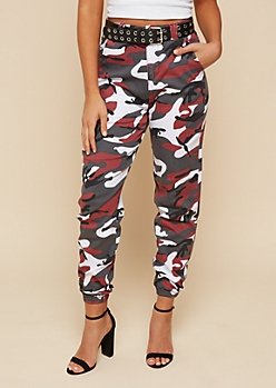 Red Camo Print High Waisted Denim Joggers