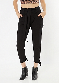 Black Ankle Tie Cargo Pants