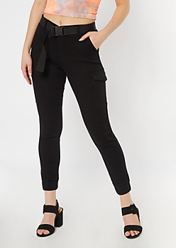 Black Belted Cargo Joggers