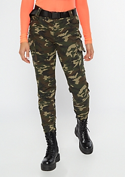Camo Print Belted Cargo Twill Joggers