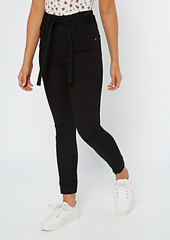 Black High Waisted Paperbag Waist Joggers