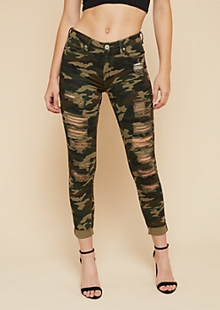 Camo Print Distressed Cropped Rolled Hem Jeans