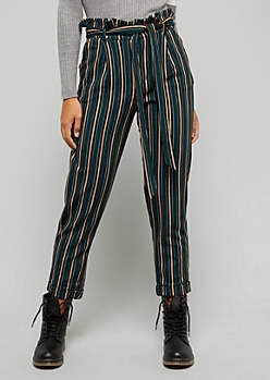 Dark Green Striped High Waisted Cropped Pants