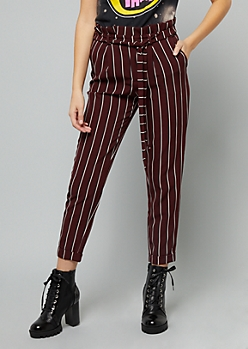 Burgundy Striped Paperbag Waist Cuffed Pants