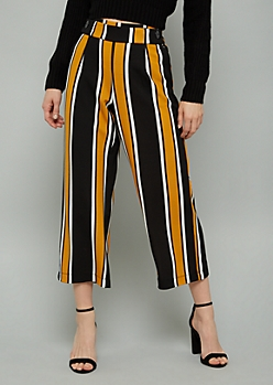 Mustard Striped High Waisted Flared Pants