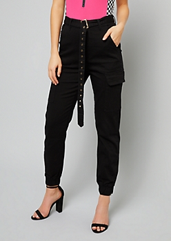 Black High Waisted Belted Cargo Joggers