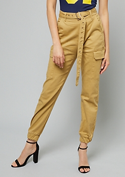 Khaki High Waisted Belted Cargo Joggers