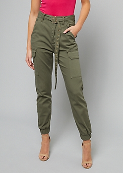 Olive High Waisted Belted Cargo Joggers