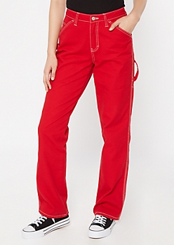 Dickies Red Utility Straight Leg Pants