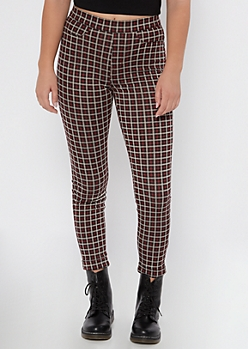 Burgundy Plaid Pull On Pants