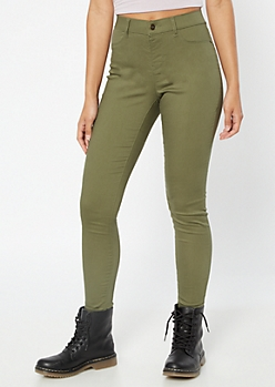 Olive Mid Rise Pull On Jeggings