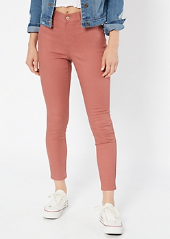 Medium Pink Mid Rise Pull On Jeggings