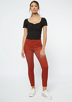 Burnt Orange Pull On Jeggings