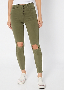 Recycled Olive Button Front Ripped Jeggings