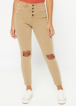 Recycled Tan Button Front Ripped Jeggings