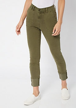 Olive Cargo Pocket Cuffed Skinny Jeans