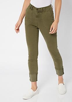 Olive Cargo Pocket Cuffed Skinny Jeans