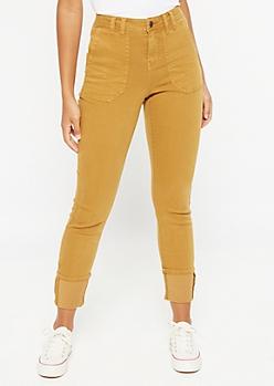 Camel Cargo Pocket Cuffed Skinny Jeans