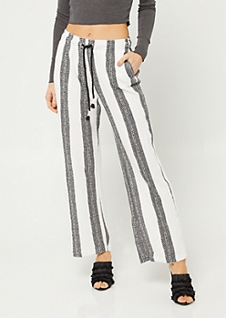 Black & White Striped Tie Wide Leg Pants